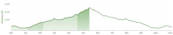 Glass Mountain Ridge - Elevation Profile.