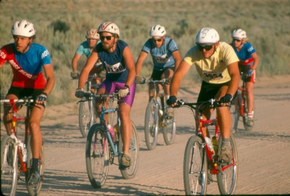 Photo courtesy of Charles Kelly - This is the start of the 1986 Plumline 7500 Challenge, the 50-mile race where Cindy Whitehead, extreme right, lost her saddle and won the race. Rider on the left is John Loomis, and behind him, Dan something from L.A. Light blue jersey behind Dan is Jungle Jon Poshman, a SF bike messenger/urban cycling junkie.
