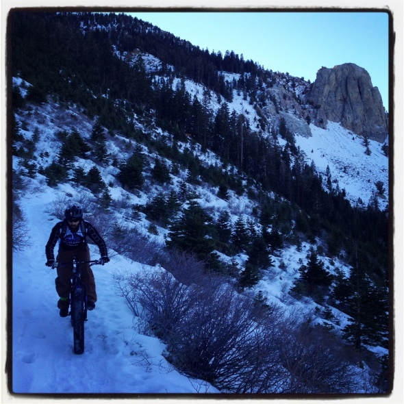 Riding the Mammoth Rock Trail at dusk on the fat bike - such a beautiful ride.