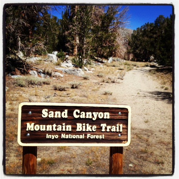 Sand Canyon Trail Sign - here is where the fun begins!