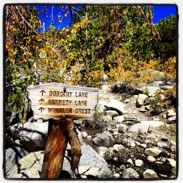 Trail sign during the tough climb at the beginning of the ride