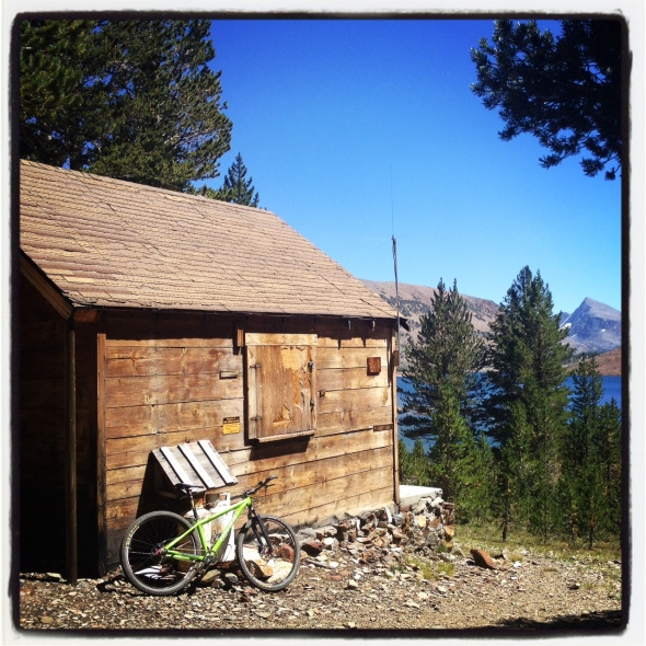 The old cabin that marks the half way point of the ride