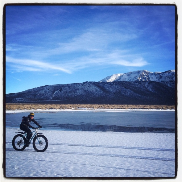 Jen, cruising around the Laurel Settling Ponds on her custom steel 616 fat bike.