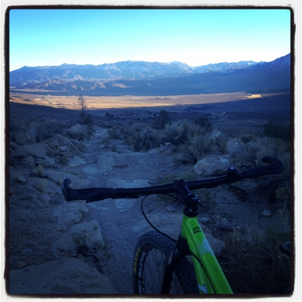 A dusk ride down Wagon Wheel Trail.  Gorgeous views to Round Valley and the Tungsten Hills near Bishop.