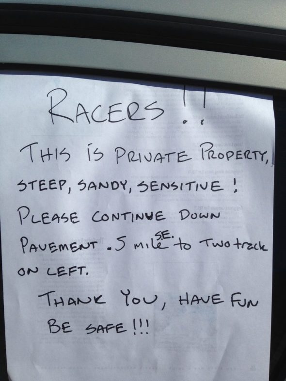 John Dittli's note left for any straggling riders - disaster averted.