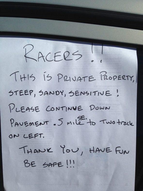 John Dittli's note left for any straggling riders - disaster averted.