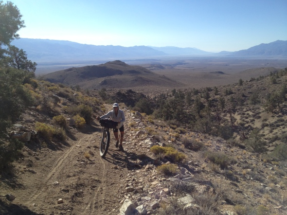 More hike-a-bike near Casa Diablo. Zak is a boss! But look at that view!!